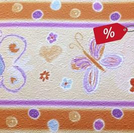 Restposten   Struktur - Vliesbordüre   Schmetterlinge orange - lila   Sale - 4,20 m