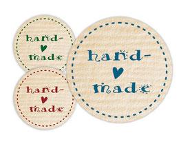 Handmade Aufkleber - rund  | handmade - Herzchen