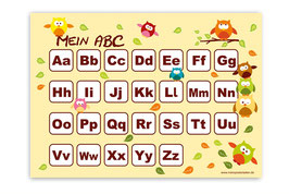 ABC Lernposter   Eule - gelb