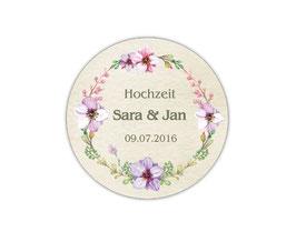 Hochzeitsaufkleber | Blumenkranz - fliederfarben