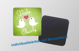 Magnetbild - Vögelchen mit Herz - grün | mit Wunschtext personalisierbar