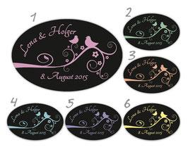 Hochzeitsaufkleber - oval | Tauben auf Blumenranke - schwarz