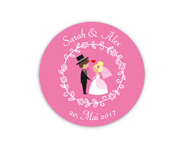 Hochzeitsaufkleber | Brautpaar mit Herz - pink