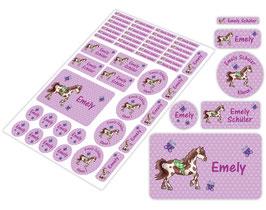 Schulstarter - Set | Pferde Herzchen - lila