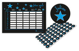 2 er Schulset:  Stundenplan + Namensaufkleber | Sterne - blau
