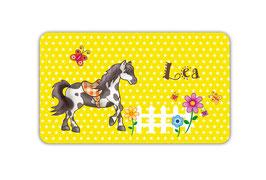 Brotdosenaufkleber | Pferde Sterne - gelb