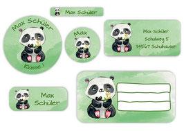 Schulaufkleber - Set | Panda