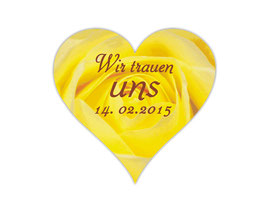 Hochzeitsaufkleber Herz  | romantische Rosen - gelb