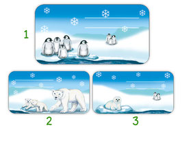 Heftaufkleber 4,4 x 8,4 cm | Eisbär - Pinguin