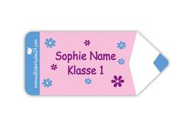 Form - Namensaufkleber | Stift - Blumen rosa