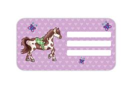 Heftaufkleber 4,4 x 8,4 cm | Pferd Herzen - lila