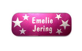 Namensaufkleber Silberfolie | Sterne pink