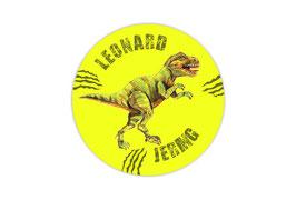 Namensaufkleber Neongelb  rund  | T-Rex 2