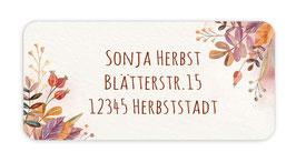 Adressaufkleber eckig  | Hagebutten - Herbstblätter - Watercolor