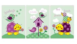 3 er Set Kinderposter - Schildkröte, Vögelchen und Schnecke - lila grün