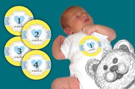 Baby Meilenstein Aufkleber | 1-4 Wochen -  Herzchen - gelb hellblau