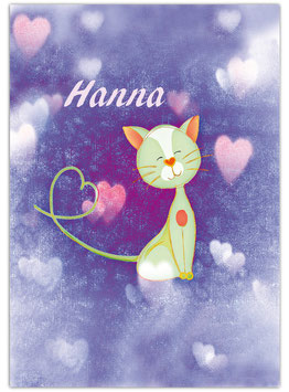 Namensposter - Katze - lila