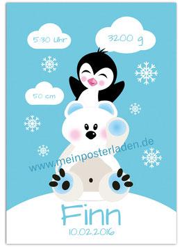 Geburtsposter - Eisbär mit Pinguin - blau