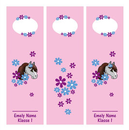 3er Set Ordnerrückenaufkleber | Pony Blumen - rosa