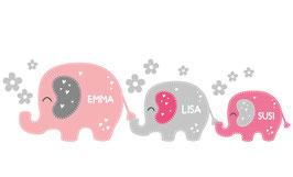 Geschwister - Wandaufkleber | 3 Elefanten Blümchen - personalisierbar