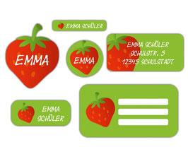 Schulaufkleber - Set | Erdbeere