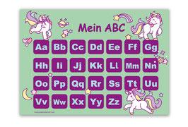 ABC Lernposter | Einhorn - mint