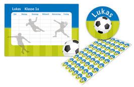 2 er Schulset:  Stundenplan + Namensaufkleber | Fußball blau-grün