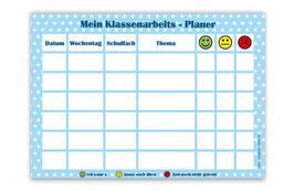 A4 Klassenarbeitsplaner - abwaschbar | Sternchen - blau