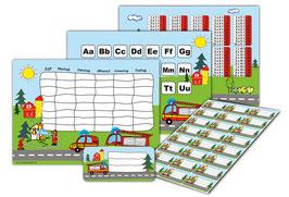 4 er Schulset:  Stundenplan + Lernposter + Heftaufkleber   Feuerwehr
