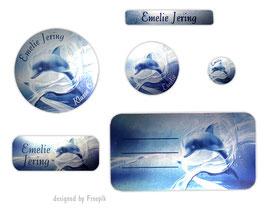 Schulaufkleber-Set Silberfolie | Delfin