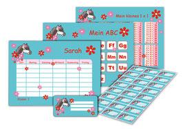 4 er Schulset:  Stundenplan + Lernposter + Aufkleber | Pony Blumen - türkis rot