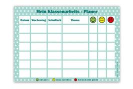 A4 Klassenarbeitsplaner - abwaschbar | Sternchen - türkis