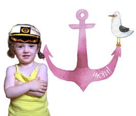 Wandaufkleber   Anker & Möwe - pink