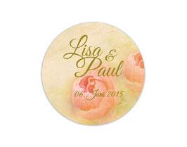 Hochzeitsaufkleber | Vintage Rose - lachs