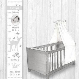 Kindermesslatte mit Foto  | Reh - weiß grau