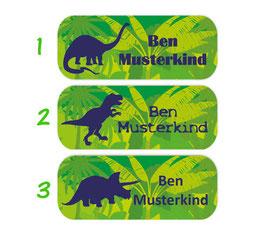 Namensaufkleber 2 x 5 cm | Dinos Urwald