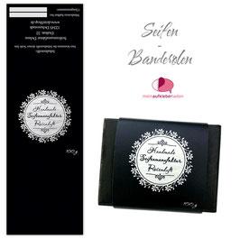 8 Seifenbanderolen | Blumenkranz Ornament schwarz silber - personalisierbar & transparente Klebepunkte