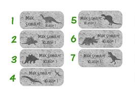 Namensaufkleber 2 x 5 cm | Dino Versteinerung - grau