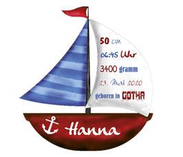 Wandaufkleber   Segelboot mit Geburtsdaten - rot blau