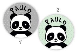 Namensaufkleber rund   Pandabär