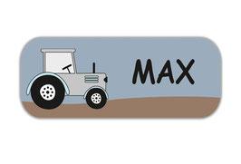 Namensaufkleber 2 x 5 cm   Traktor - grau