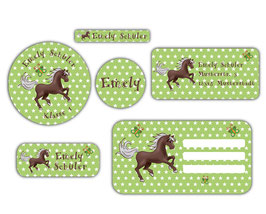 Schulaufkleber - Set | Pferd Sterne - grün