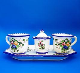 Servizio da tè blu 2 tazze + zuccheriera