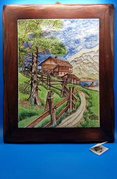 Quadro paesaggio di montagna cornice legno pregiato