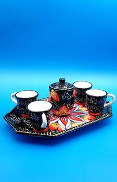 "Servizio caffè graffiato ""Regina di cuori"" 4 tazzine + zuccheriera"