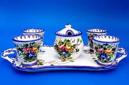 Servizio caffè blu 4 tazzine + zuccheriera