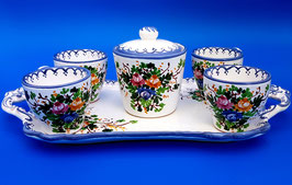 Servizio caffè bluette  4 tazzine + zuccheriera