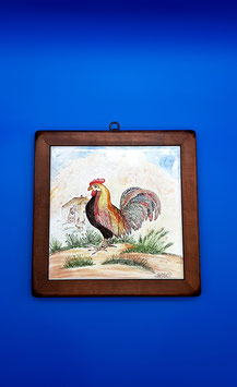 Quadro gallo in campagna cornice in legno pregiato
