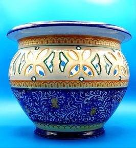 Vaso per piante graffiato blu