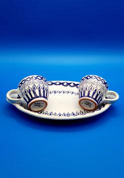 Servizio caffè tribale blu 2 tazzine